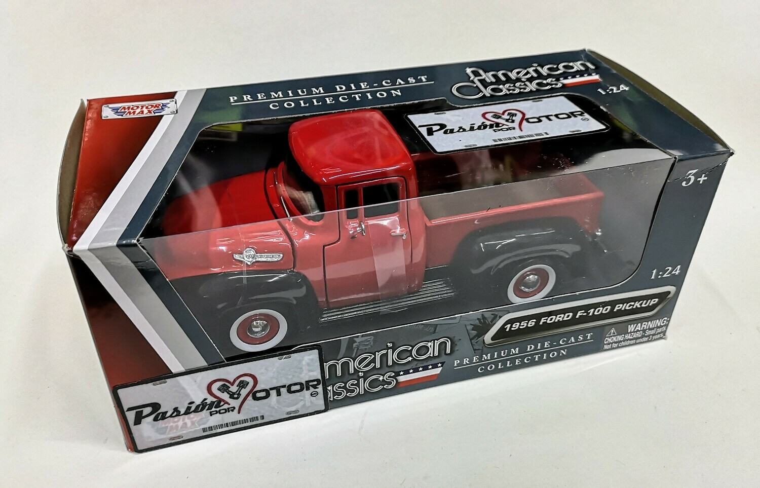1:24 Ford F-100 Pick Up 1956 Negro C Rojo Motor Max C Caja