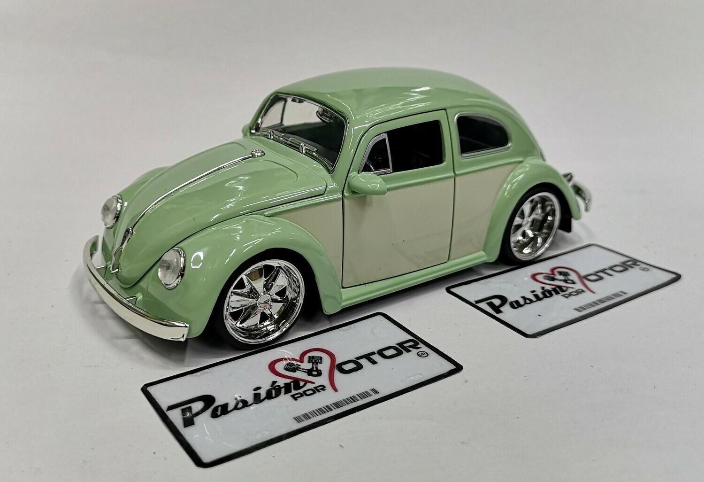 1:24 Volkswagen Beetle 1959 Verde C Beige Rin Fuchs Jada Toys Big Time Kustoms En Display / A Granel