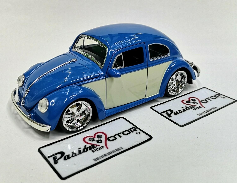 1:24 Volkswagen Beetle 1959 Azul C Beige Rin Fuchs Jada Toys Big Time Kustoms En Display / A Granel