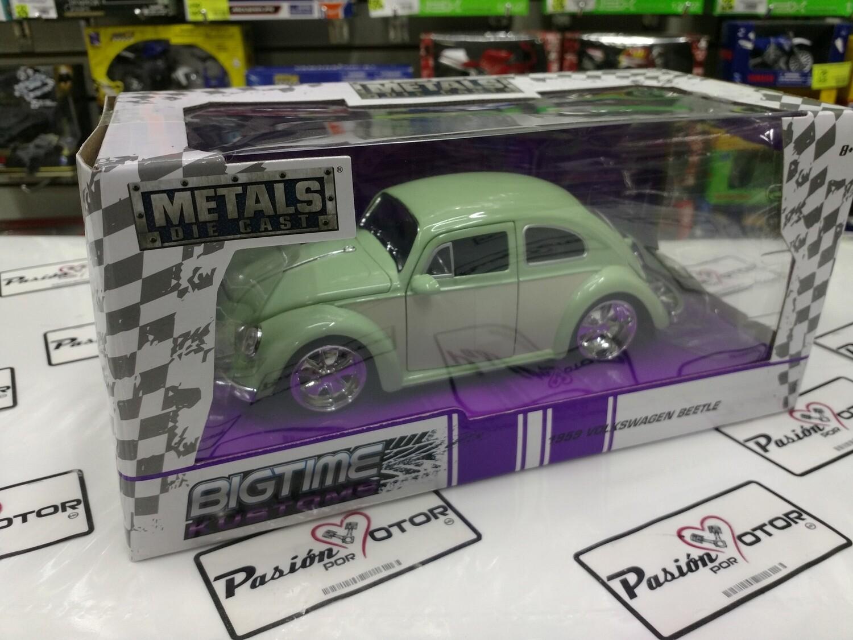 1:24 Volkswagen Beetle 1959 Verde C Beige Rin Fuchs Jada Toys Big Time Kustoms En Caja