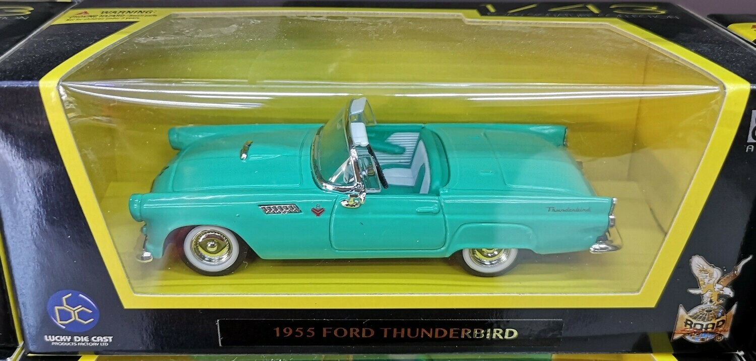 1:43 Ford Thunderbird 1955 Verde Lucky Die Cast Road Signature Collection