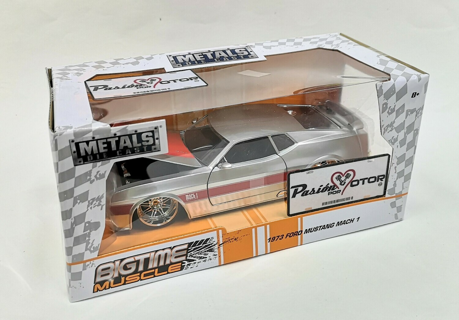 1:24 Ford Mustang Mach 1 1973 Plata Jada Toys Big Time Muscle Shelby C Caja