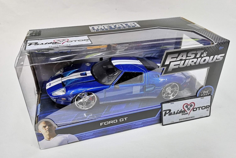1:24 Ford GT 2005 Azul Jada Toys Rapido y Furioso En Caja