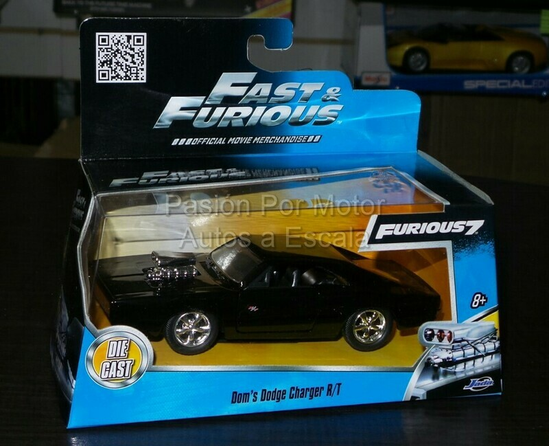 Jada Toys 1:32 Dodge Charger CoupeR/TDom´s 1970 NegroRapido y Furioso 7 En Caja