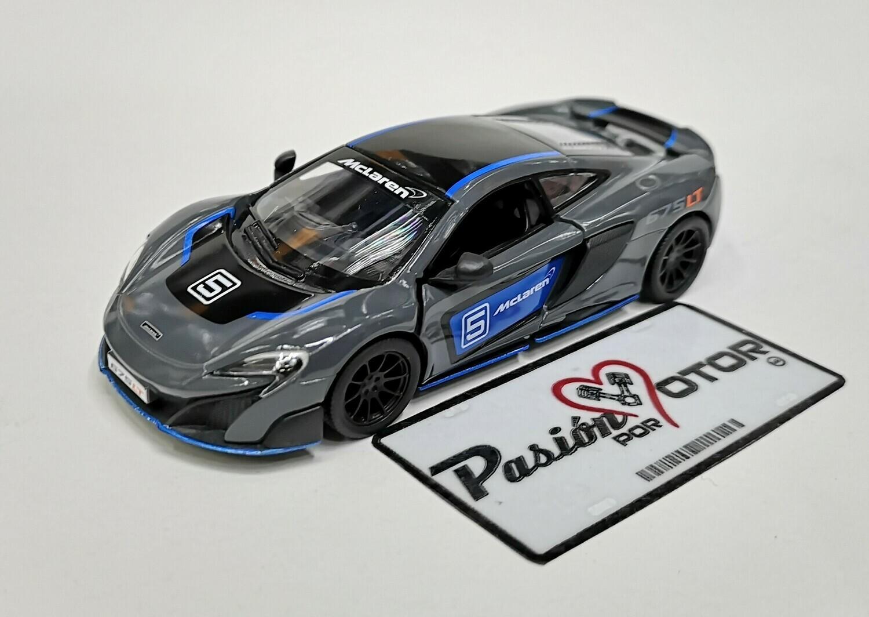 1:36 McLaren 675 LT 2015 Gris con Gráficos Kinsmart En Display a Granel 1:32
