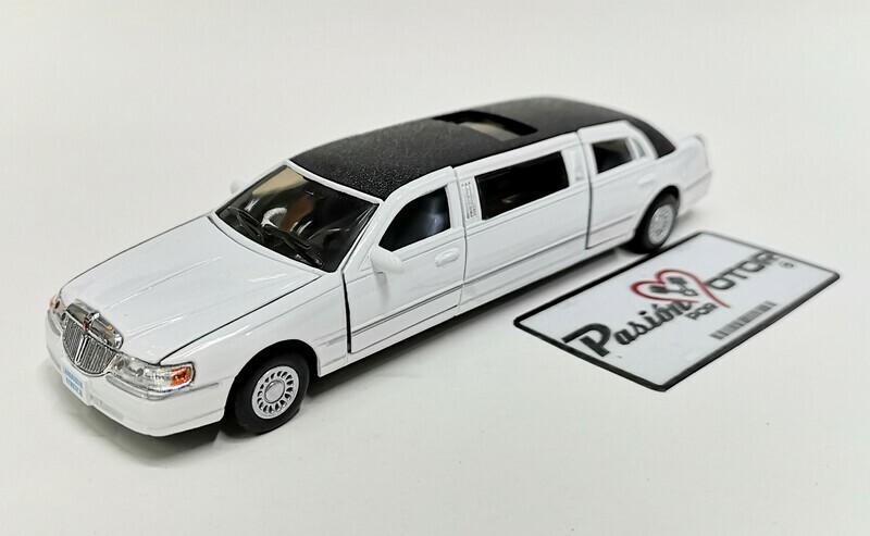 1:38 Lincoln Town Car Stretch Limousine 1999 Blanco Kinsmart En Display / a Granel 1:32
