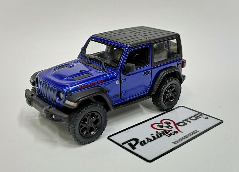 1:34 Jeep Wrangler Rubicon Hard Top 2018 Azul  Kinsmart En Display / A Granel 1:32