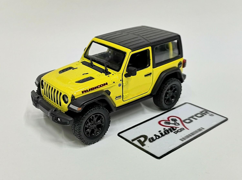 1:34 Jeep Wrangler Rubicon Hard Top 2018 Amarillo  Kinsmart En Display / A Granel 1:32