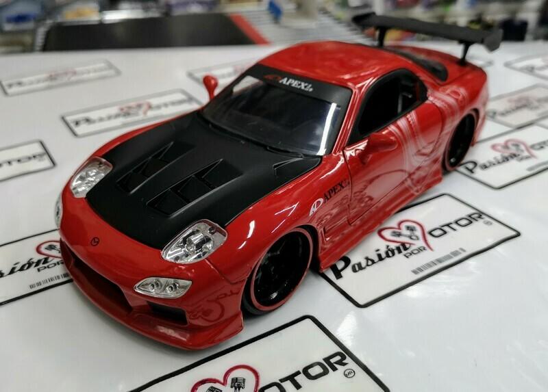 1:24 Mazda RX7 1993 Rojo Con Graficos  Jada Toys JDM Tuners En Display / A Granel