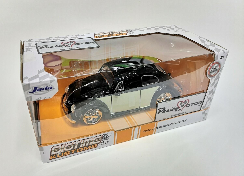 1:24 Volkswagen Beetle 1959 Negro C Beige Rin Fuchs Jada Toys Big Time Kustoms En Caja