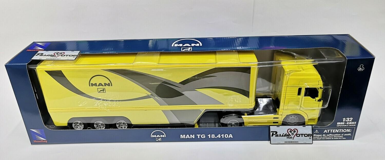 1:32 Man TGA 18.410 2000 Con Trailer Caja Seca Amarillo New Ray