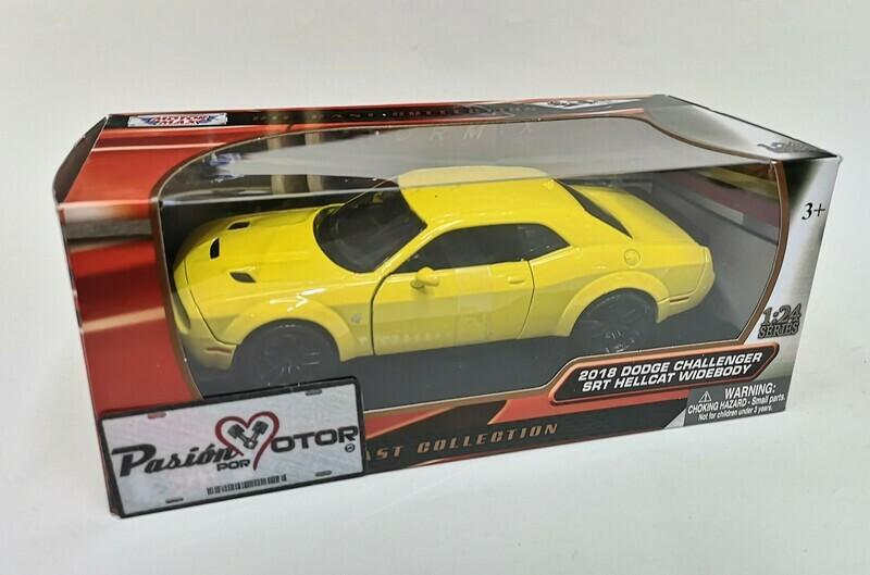 1:24 Dodge Challenger SRT Hellcat Widebody 2018 Amarillo Motor Max C Caja