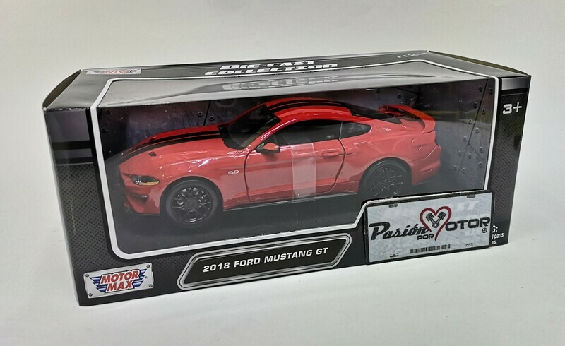 1:24 Ford Mustang GT Coupe 2018 Rojo c Franjas Negras Motor Max En Caja