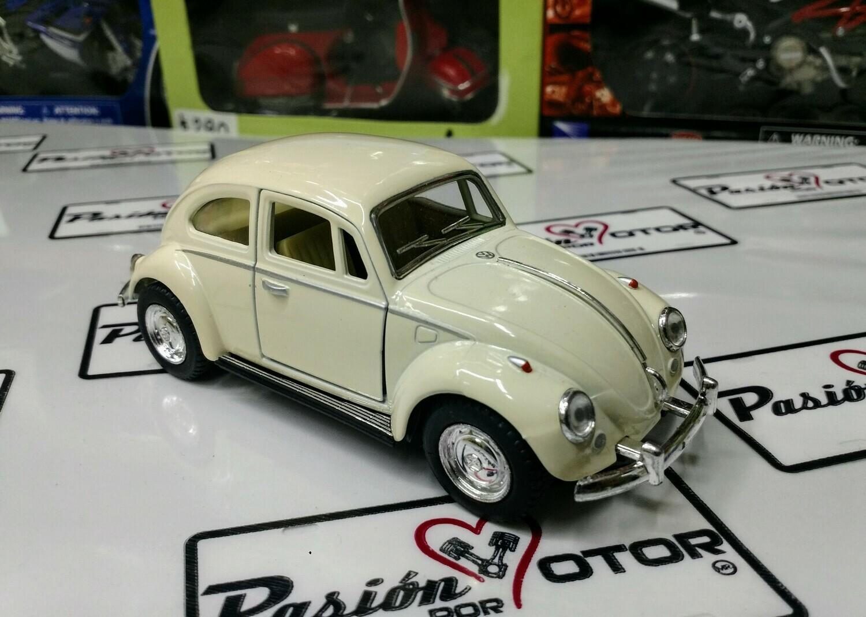1:32 Volkswagen Beetle 1967 Beige De Fricción Kinsmart En Display / a Granel