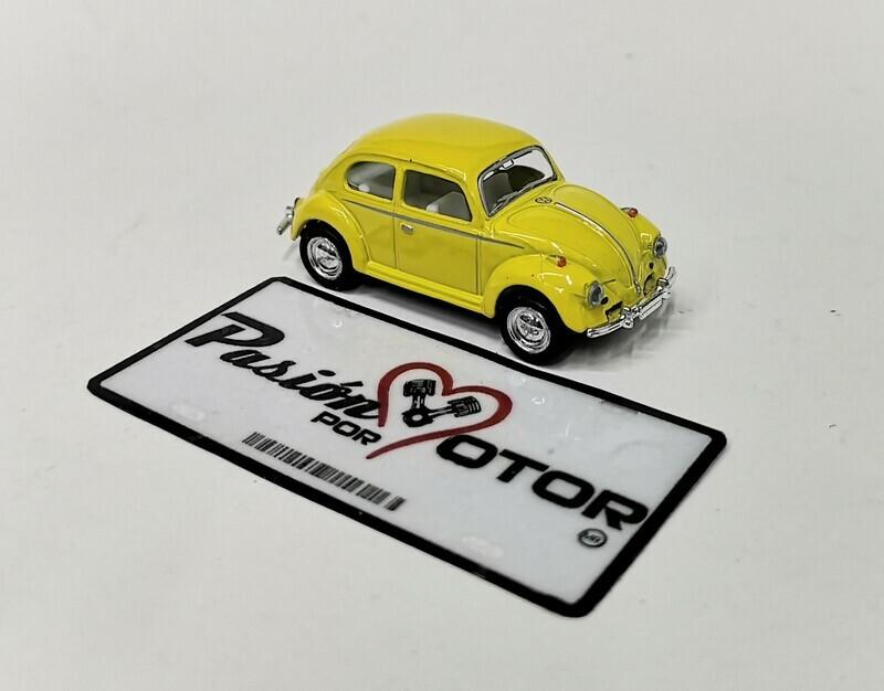 1:64 Volkswagen Beetle 1967 Amarillo Solido Friccion Kinsmart En Display / a Granel