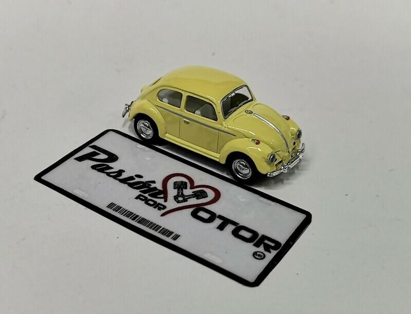 1:64 Volkswagen Beetle 1967 Amarillo Pastel Friccion Kinsmart En Display / a Granel