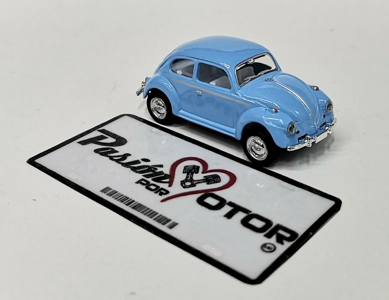 1:64 Volkswagen Beetle 1967 Azul Cielo Friccion Kinsmart En Display / a Granel