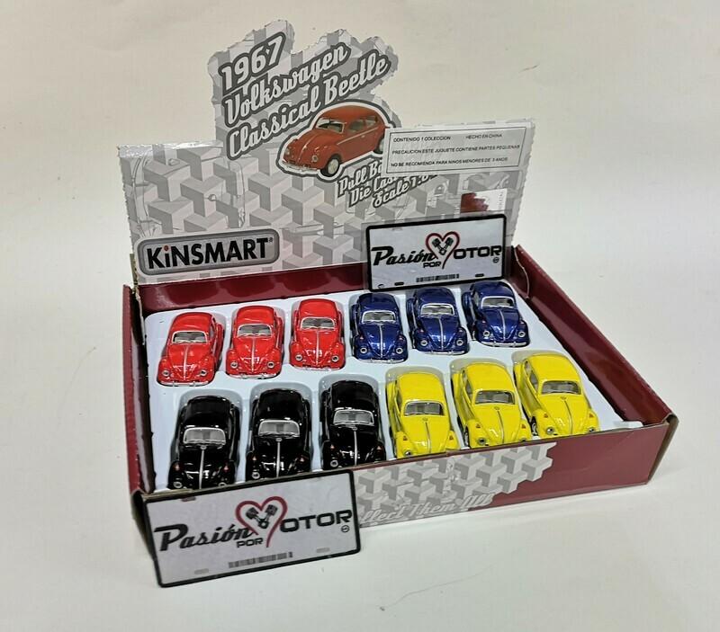 1:64 Volkswagen Beetle 1967 Colores Solidos Kinsmart Caja c 12 Piezas En Display / a Granel