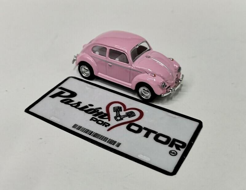 1:64 Volkswagen Beetle 1967 Rosa Pastel Friccion Kinsmart En Display / a Granel