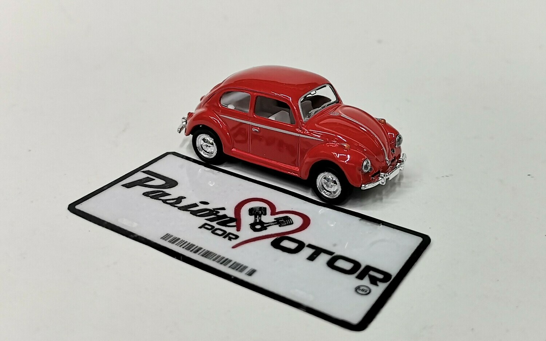1:64 Volkswagen Beetle 1967 Rojo Solido C Friccion Kinsmart En Display / a Granel