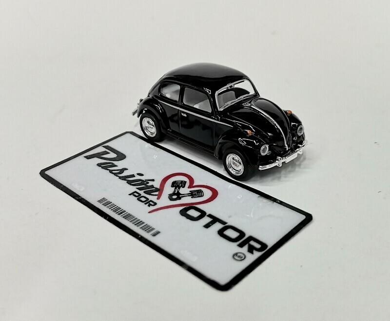 1:64 Volkswagen Beetle 1967 Negro Solido Friccion Kinsmart En Display / a Granel
