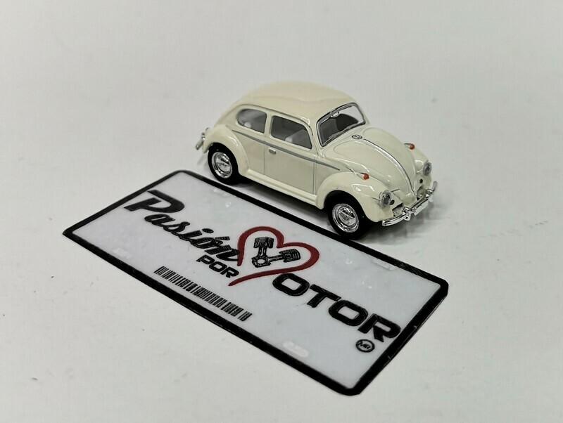 1:64 Volkswagen Beetle 1967 Beige Friccion Kinsmart En Display / a Granel