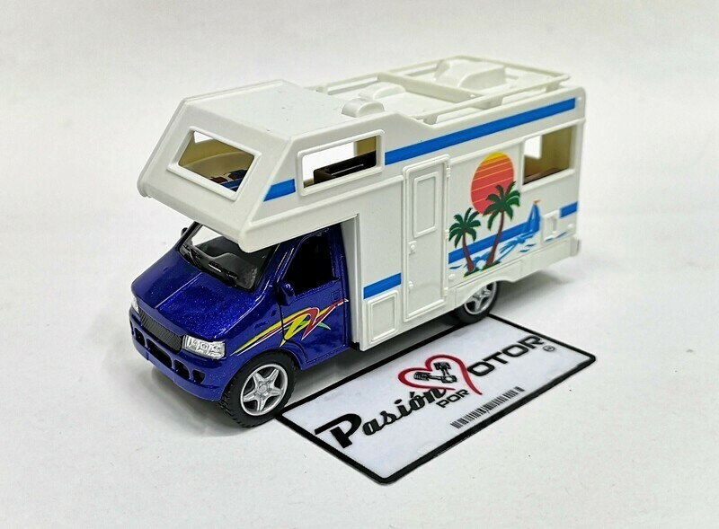 1:43 Euro Camper Motor Home Azul Kinsmart En Display / a Granel