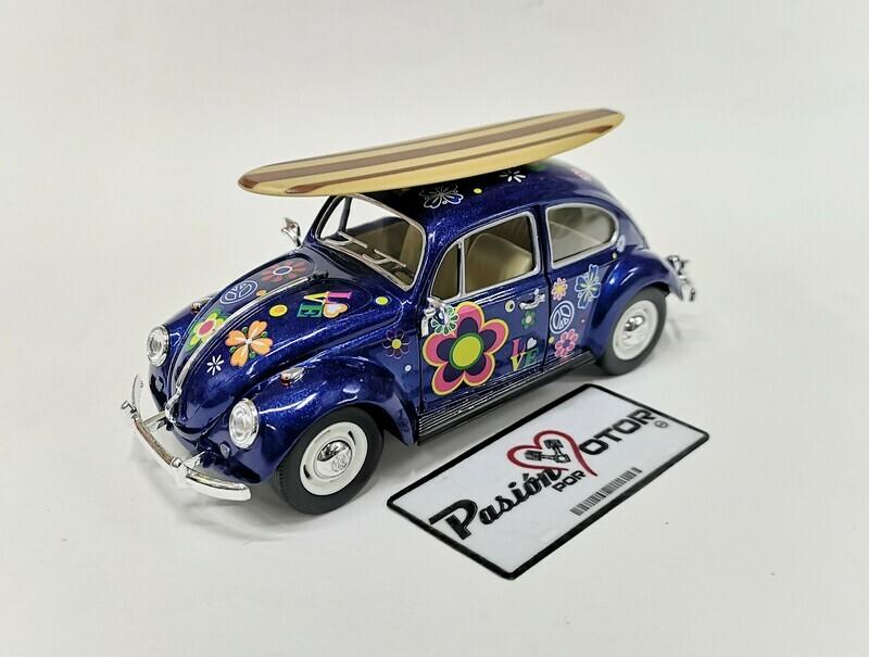 1:24 Volkswagen Beetle 1967 Azul Hippie Con Tabla de Surf Vocho Kinsmart En Display / A Granel