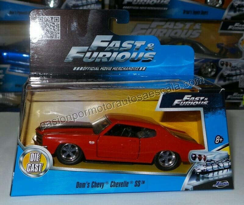 1:32 Chevrolet Chevelle SS Coupe 1970 Rojo Dom´s Jada Toys Rapido y Furioso 1 En Caja Toretto