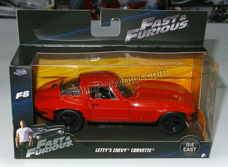 1:32 Chevrolet Corvette 1966 Rojo Letty´s Jada Toys Rapido y Furioso 8 En Caja
