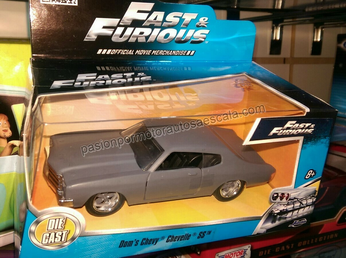 Jada Toys 1:32 Chevrolet Chevelle Coupe SS Dom´s 1970 Gris Mate Rapido y Furioso 4 En Caja
