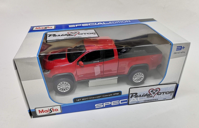 Maisto 1:27 Special Edition Chevrolet Colorado Extended Cab ZR2 2017 Rojo Pick Up Con Caja 1:24