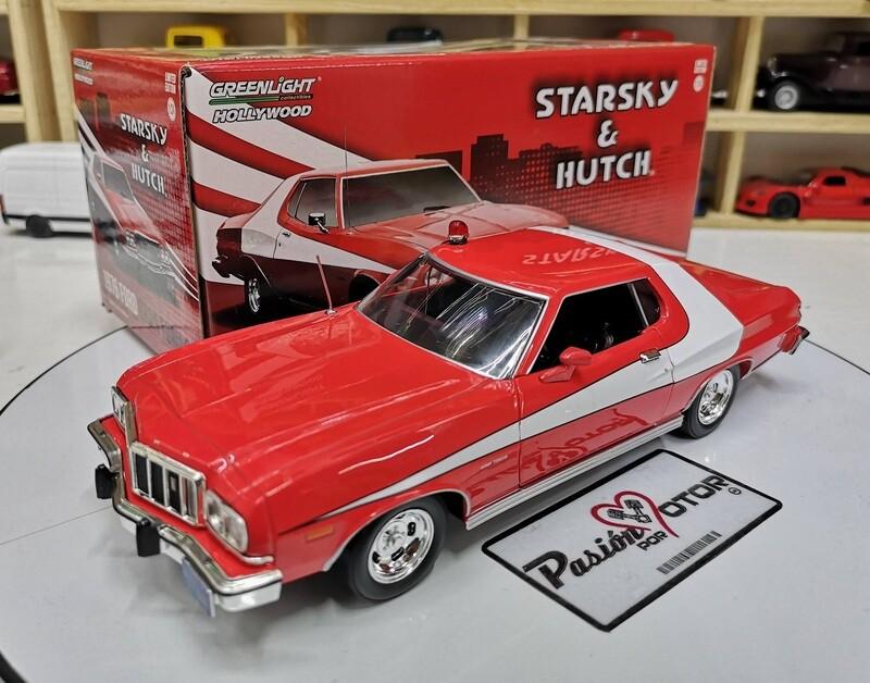 Greenlight 1:24 Hollywood Ford Gran Torino Starsky & Hutch 1976 Rojo Franja Blanca Coupe Con Caja