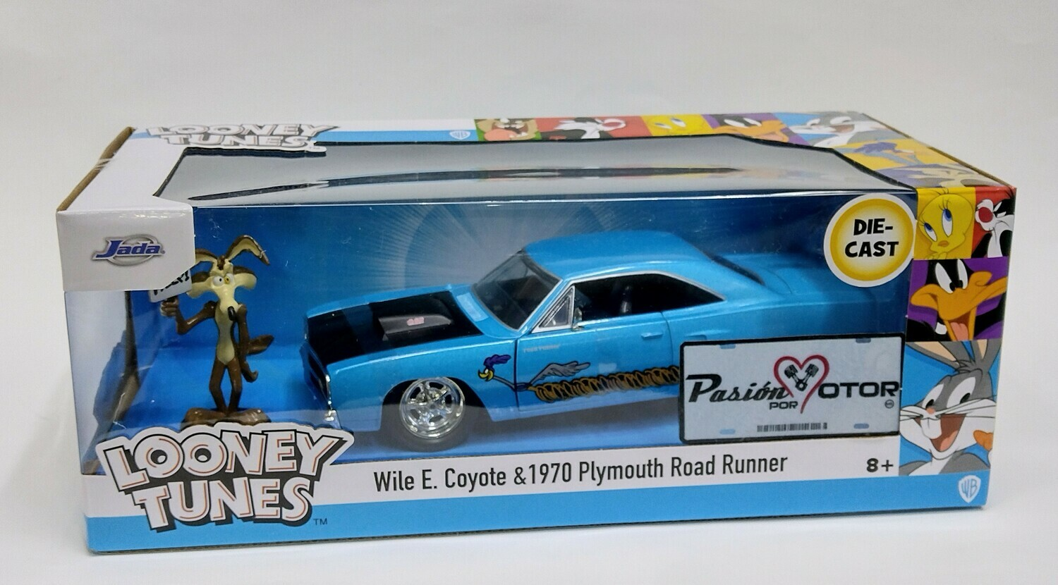 Jada Toys1:24PlymouthRoad Runner Coupe 440C Figura Wile E. Coyote 1970 Azul Hollywood Rides Looney Tunes Con Caja