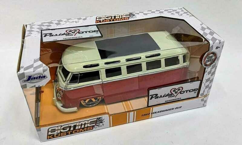 Jada Toys 1:24 Volkswagen Bus Camioneta 1962 Rojo y Beige Big Time Kustoms Con Caja
