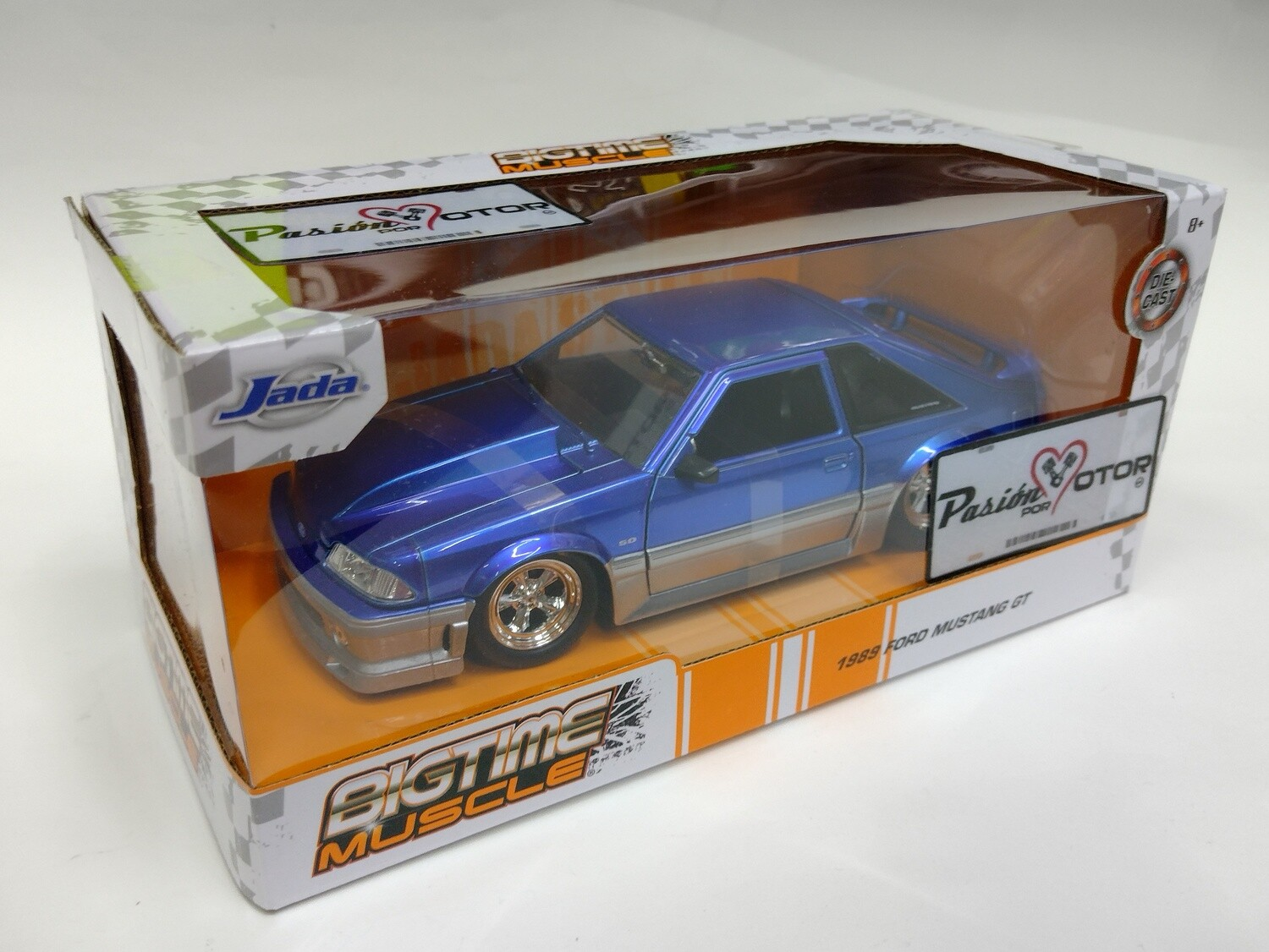 Jada Toys 1:24 Ford Mustang Fastback GT 1989 Azul Candy y Gris Con Caja