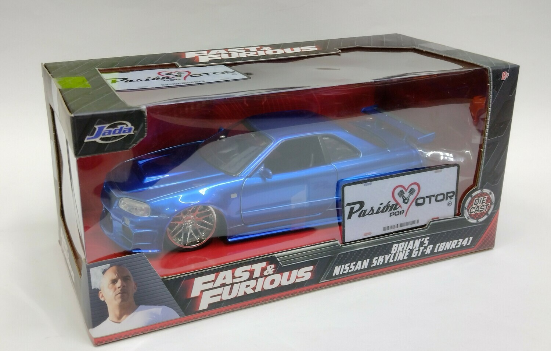 1:24 Nissan Skyline R34 2002 Azul Brian´s Rapido Y Furioso 4 Jada Toys C Caja