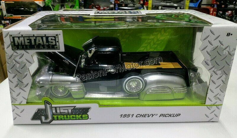Jada Toys 1:24 Chevrolet 3100 Pick Up Low Rider 1951 Negro y Plata Just Trucks Con Caja