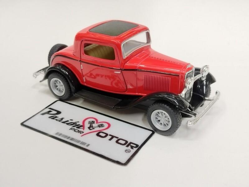 Kinsmart 1:34 Ford 3 Window Coupe 1932 Rojo Display a Granel 1:32