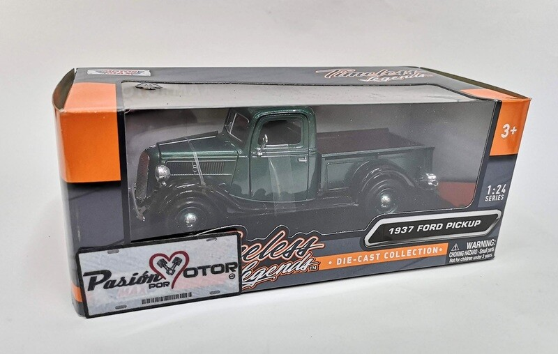 Motor Max 1:24 Ford Pick Up V8 1937 Verde y Negro Timeless Legends Con Caja