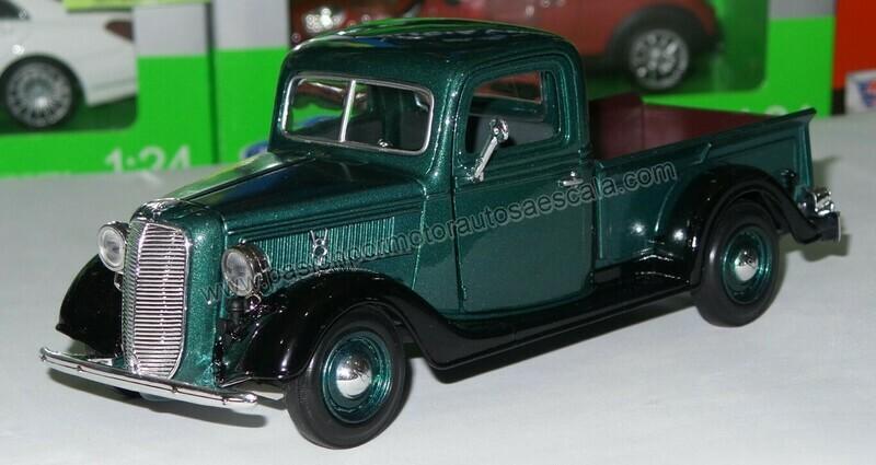 Motor Max 1:24 Ford Pick Up V8 1937 Verde y Negro Timeless Legends En Display / a Granel