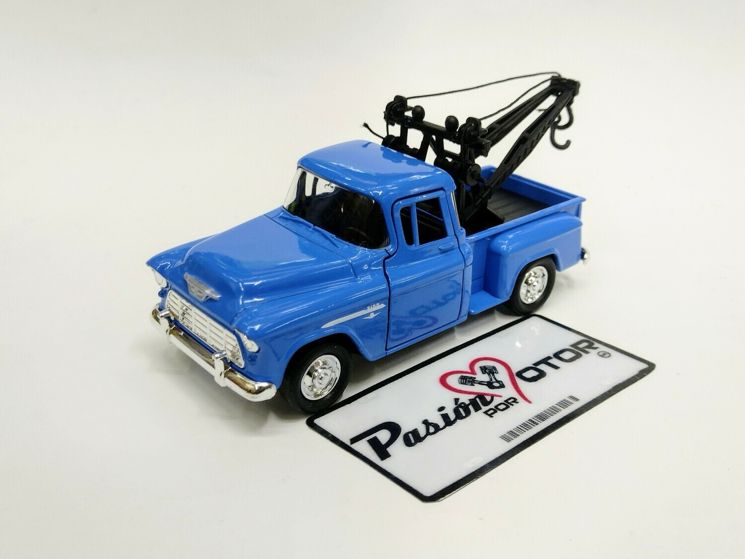 Welly 1:39 Chevrolet 3100 Pick Up Stepside Tow Truck Grua 1955 Azul Display a Granel 1:32