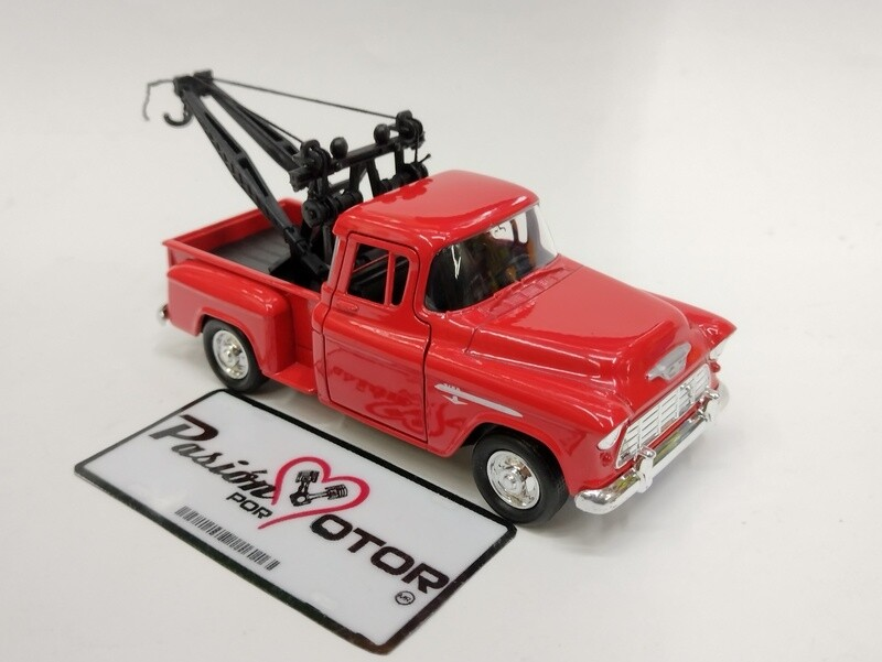 Welly 1:39 Chevrolet 3100 Pick Up Stepside Tow Truck Grua 1955 Rojo Display a Granel 1:32