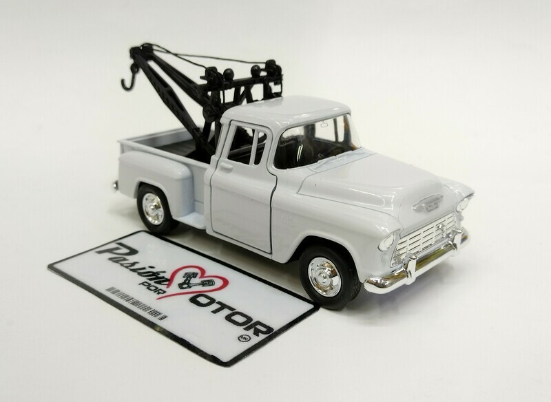 Welly 1:39 Chevrolet 3100 Pick Up Stepside Tow Truck Grua 1955 Blanco Display a Granel 1:32