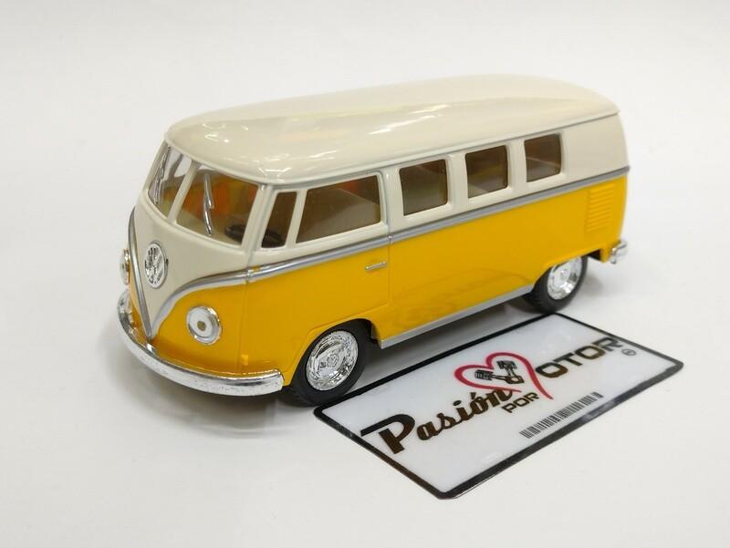 Kinsmart 1:32 Volkswagen T1 Bus 1962 Beige y Amarillo Display a Granel Combi