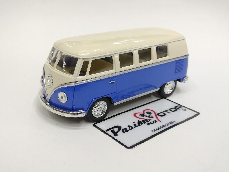 Kinsmart 1:32 Volkswagen T1 Bus 1962 Beige y Azul Display a Granel Combi