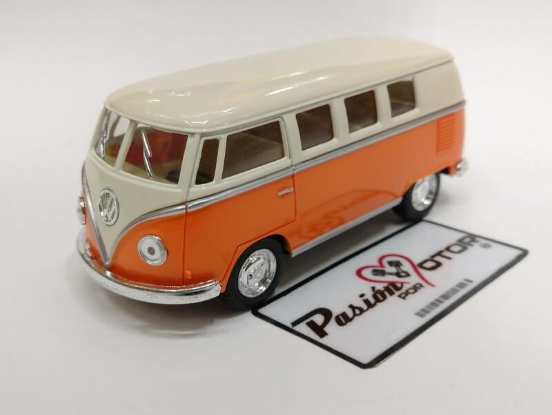 Kinsmart 1:32 Volkswagen T1 Bus 1962 Beige y Naranja Display a Granel Combi