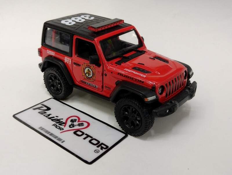 Kinsmart 1:34 Jeep Wrangler Rubicon SUV 2 Puertas Hard Top Firefighter Bomberos 2018 Rojo Display a Granel 1:32