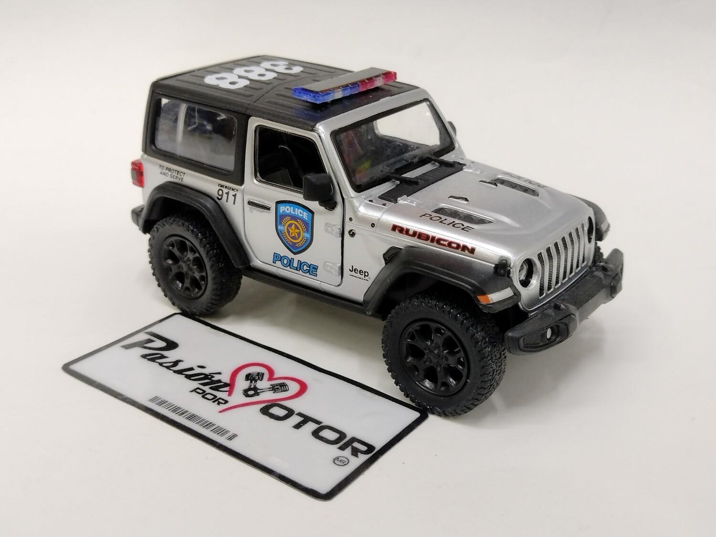 Kinsmart 1:34 Jeep Wrangler Rubicon SUV 2 Puertas Hard Top Police 2018 Plata Display a Granel 1:32 Patrulla