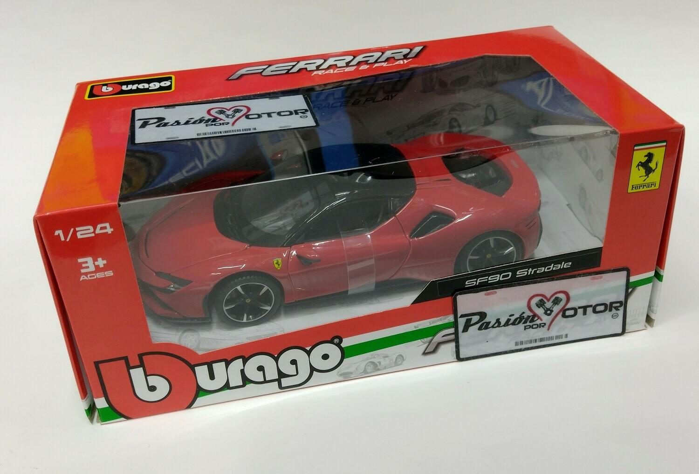 Bburago 1:24 Ferrari SF90 Stradale Coupe 2019 Rojo Race & Play Con Caja